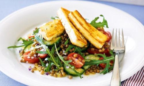 Haloumi, Lentil and Rocket Salad