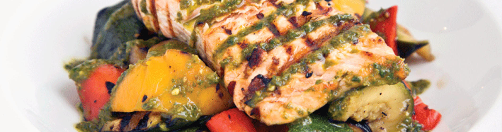 Salmon Pesto with Roasted Vegetables