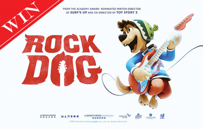 Win 1 of 5 set of four tickets to the screening of Rock Dog!