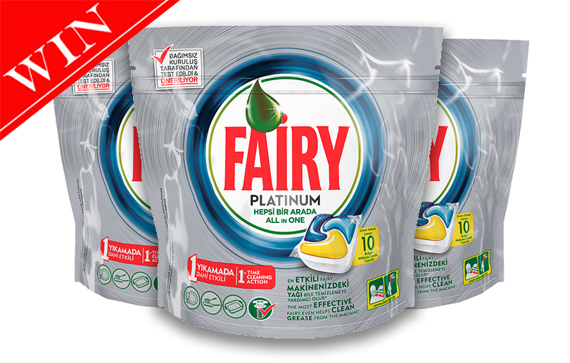 Win a years supply (8 packs) of Fairy Platinum dishwasher tablets worth 328AED!