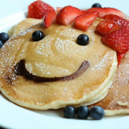 Recipe: Berry Smiley Pancake Stack
