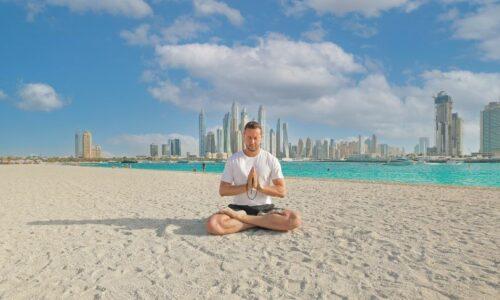 Sunset yoga at Palm West Beach