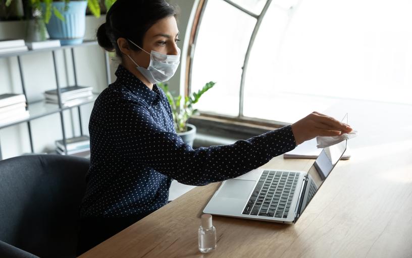 Sanitizing office equipment