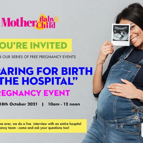 INVITATION: 'Preparing for Birth' Pregnancy Event, Mon. 18th Oct
